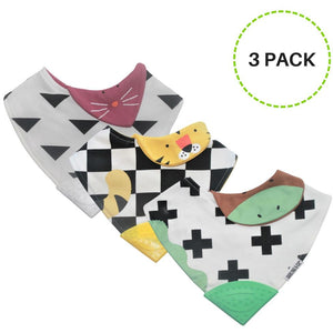 Baby & Toddler Drool Bandana Teething Bib (3 pack set) - Essence Marché