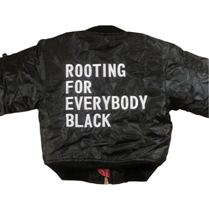 Rooting for Everybody Black Unisex Kids Bomber Flight Jacket