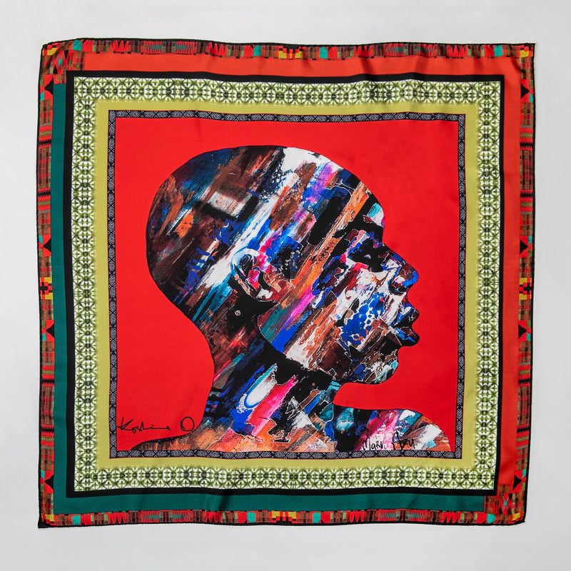 African Head Painting Scarf - Red