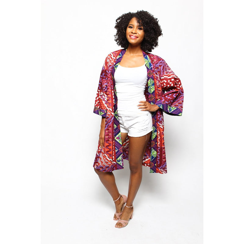 African Print Duster - Violet