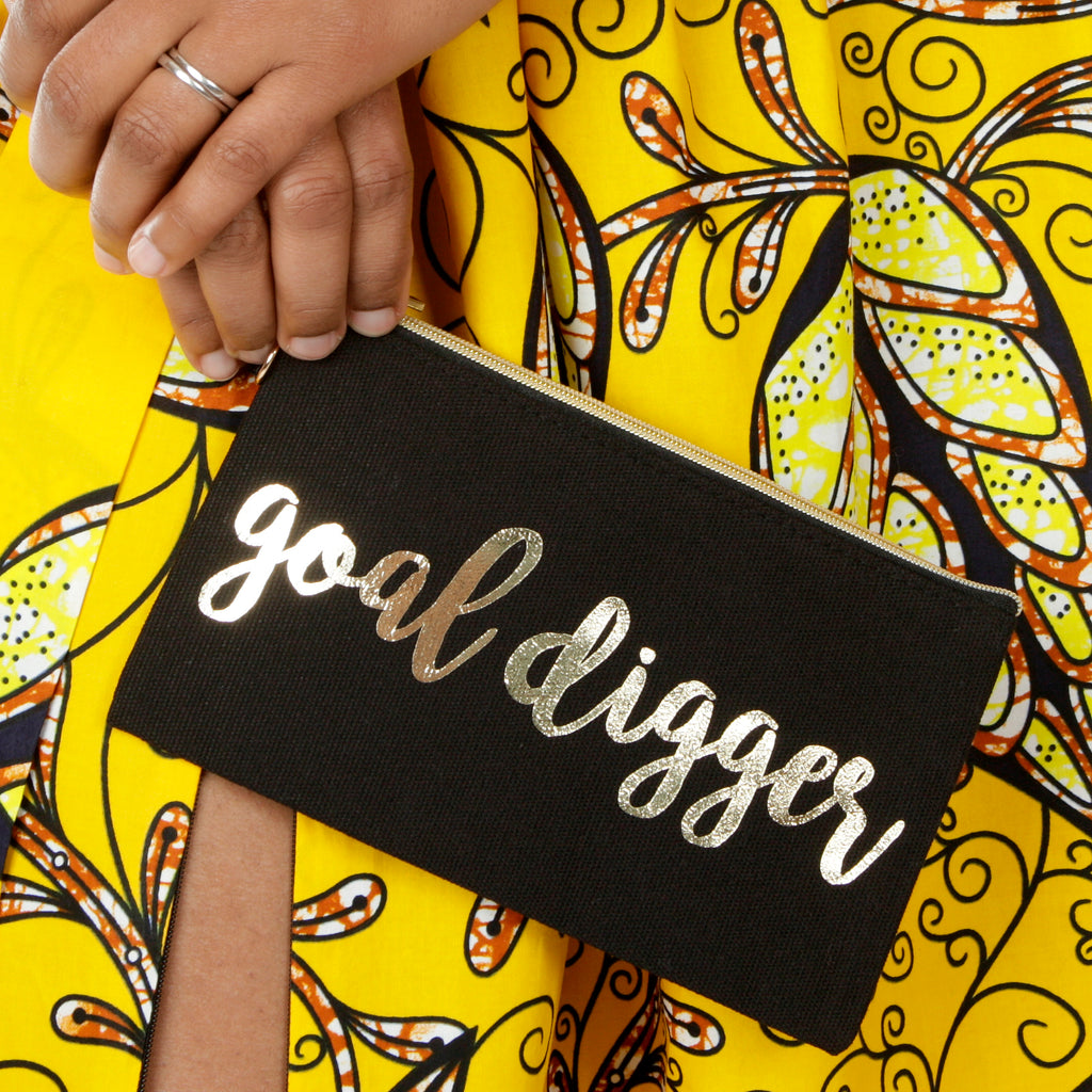 Goal Digger Black Makeup and Accessory Bag