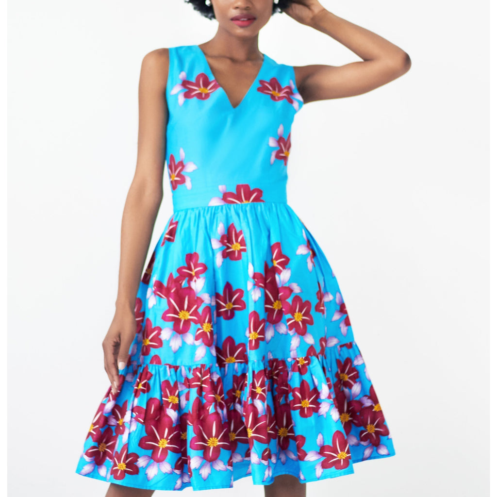 Abiye Floral Print Fit and Flare Dress