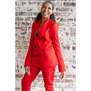 Mood |  Double-Breasted Blazer Pant Suit (Red)