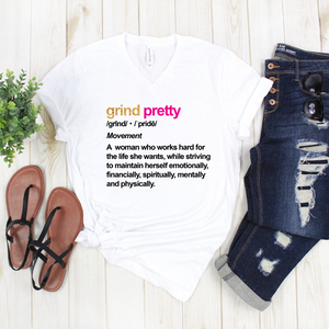 Grind Pretty Definition V Neck Tee - white