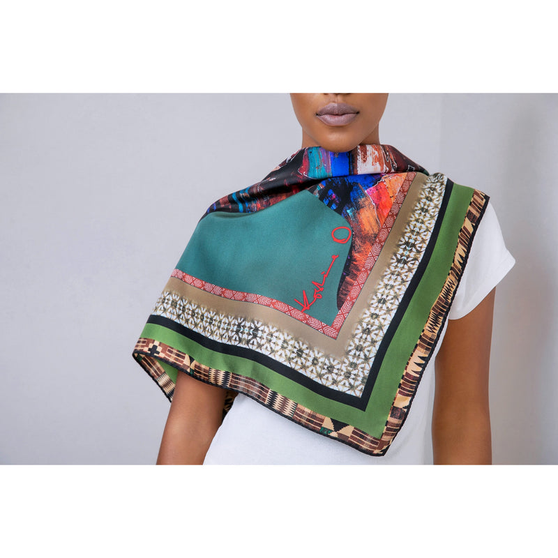 African Head Painting Scarf - Green