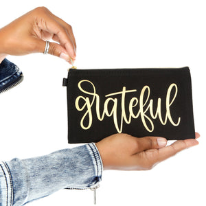 Grateful Black Makeup and Accessory Bag