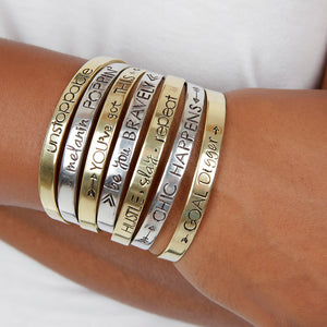 Hustle Slay Repeat Cuff Bracelet - Essence Marché