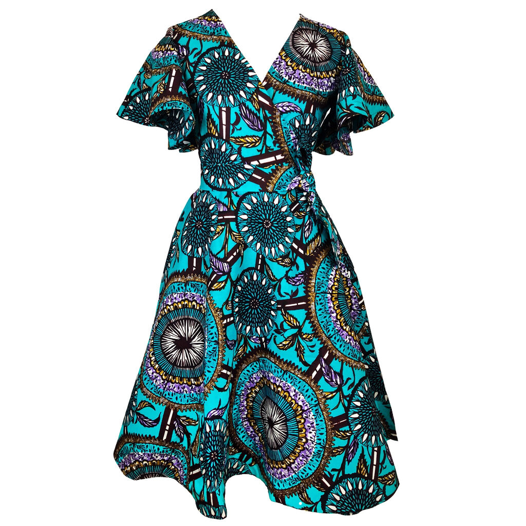 Cecey African Print Wrap Dress - Teal
