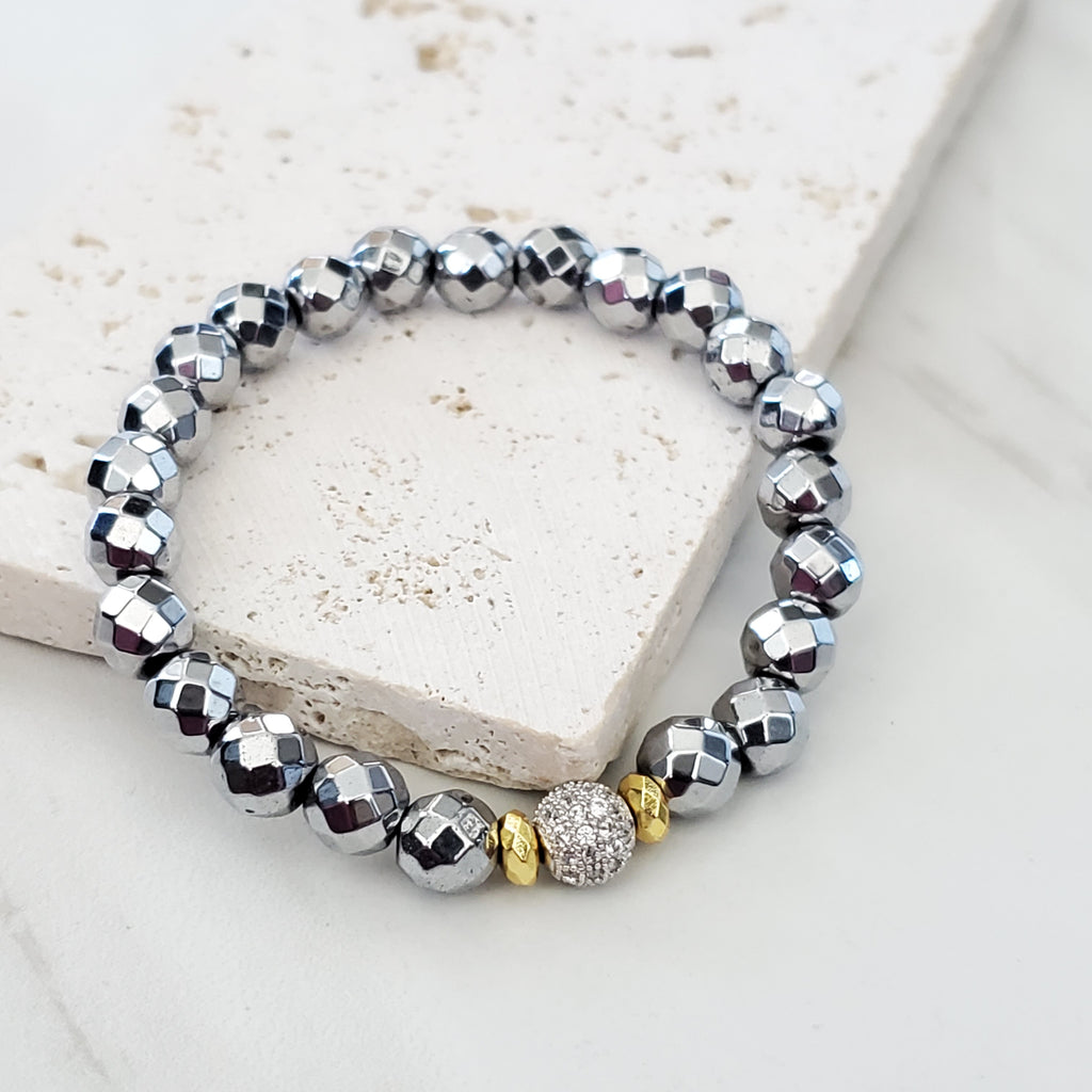 Silver and Gold Mixed Metal Beaded Bracelet