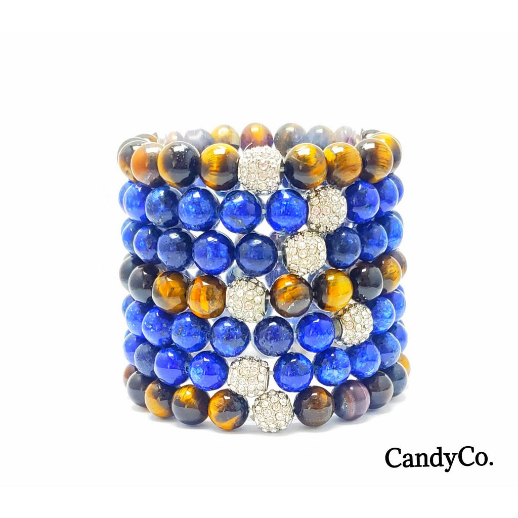 Tigers Eye Lapis Lazuli Gemstone Beaded Bracelet Stack