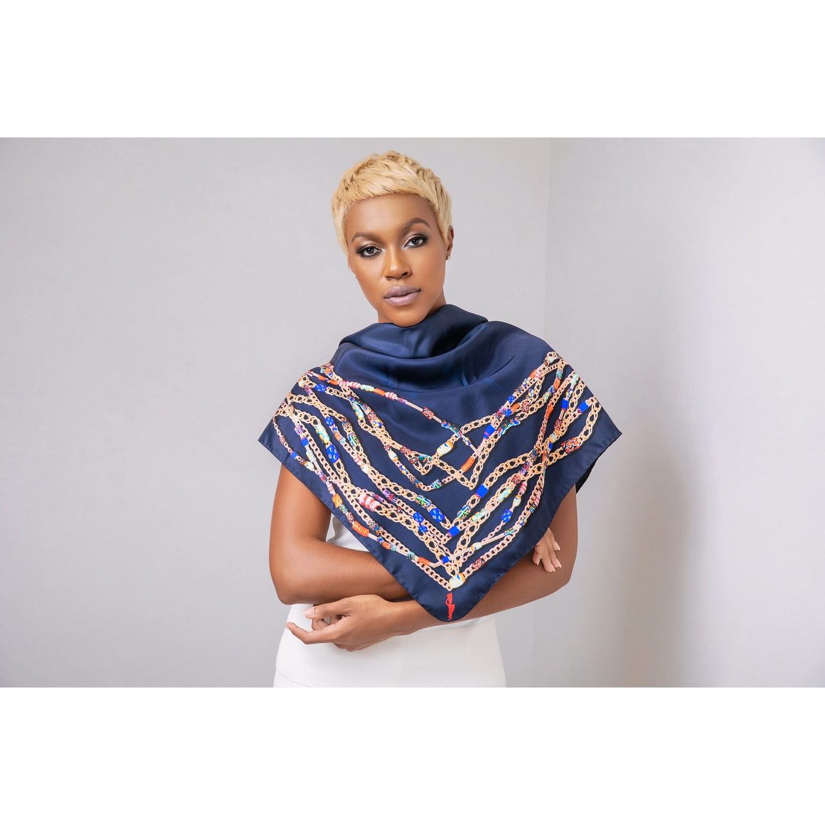 African Beaded Silk Scarf - Navy
