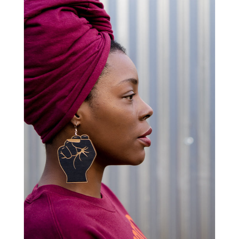 Black Womanist Fist Earrings