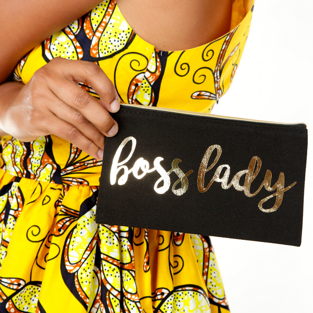 BOSS LADY Black Makeup and Accessory Bag
