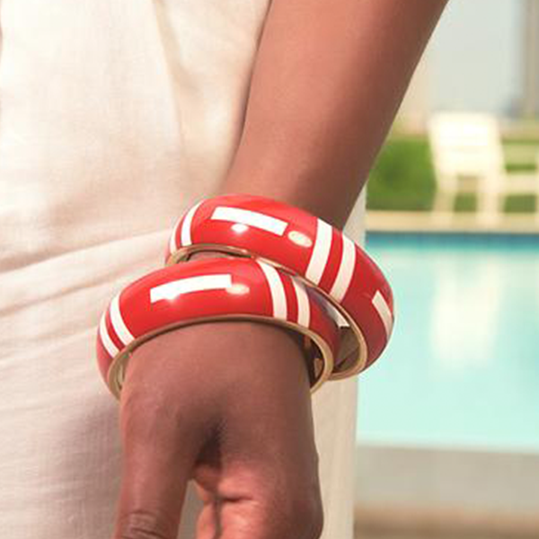 'Ramonda' Tribal Bangle- Red