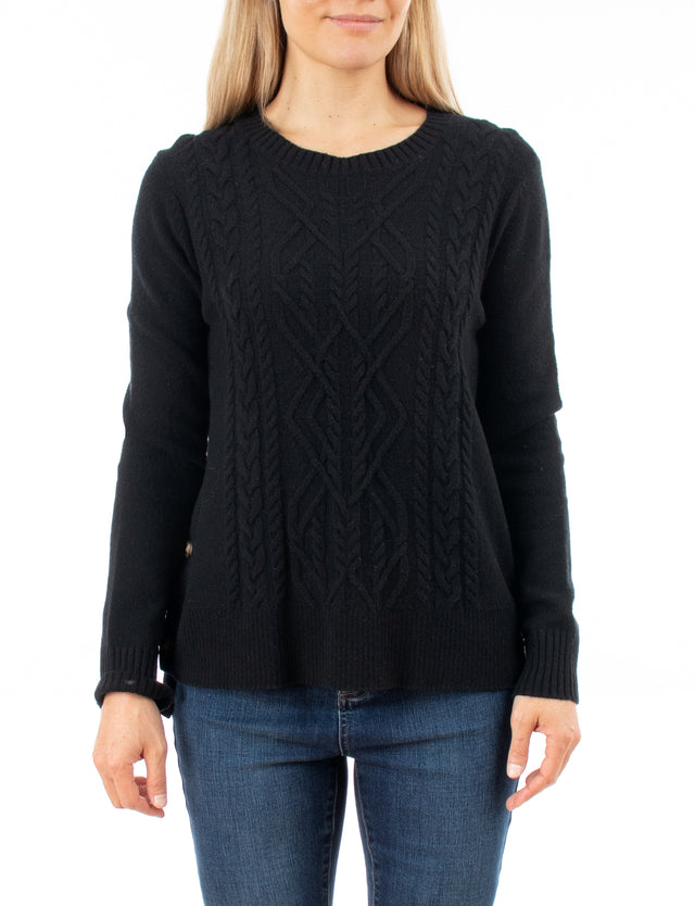 Cable Side Button Pullover