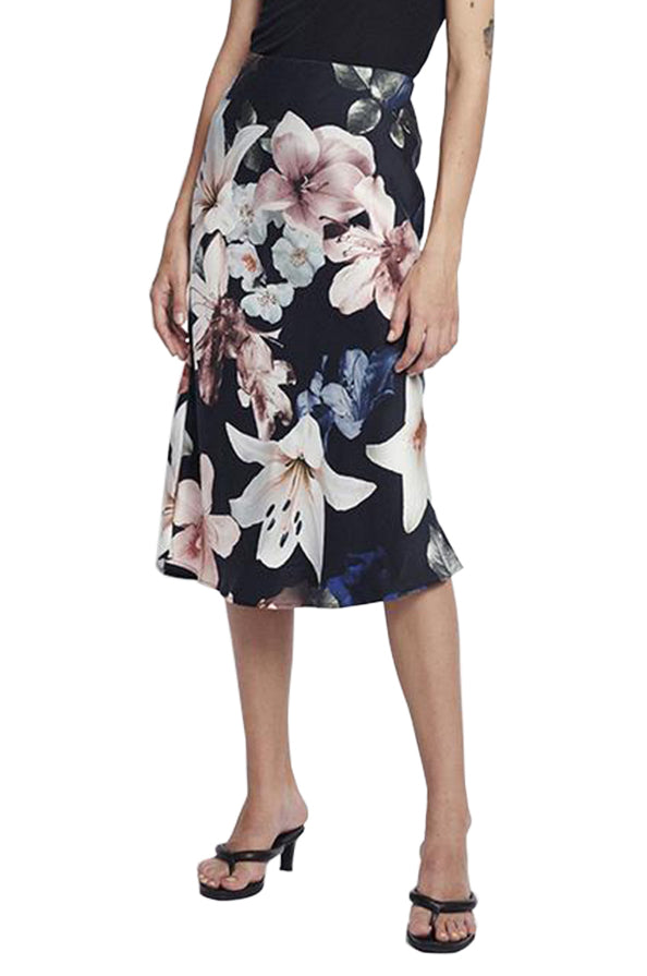 Bias Cut Silk Print Skirt