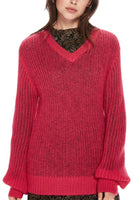 Open Knit V-Neck Pullover