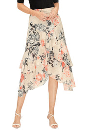 Painterly Floral Midi Skirt