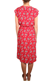 Sleeveless Red Ditsy Floral Dress