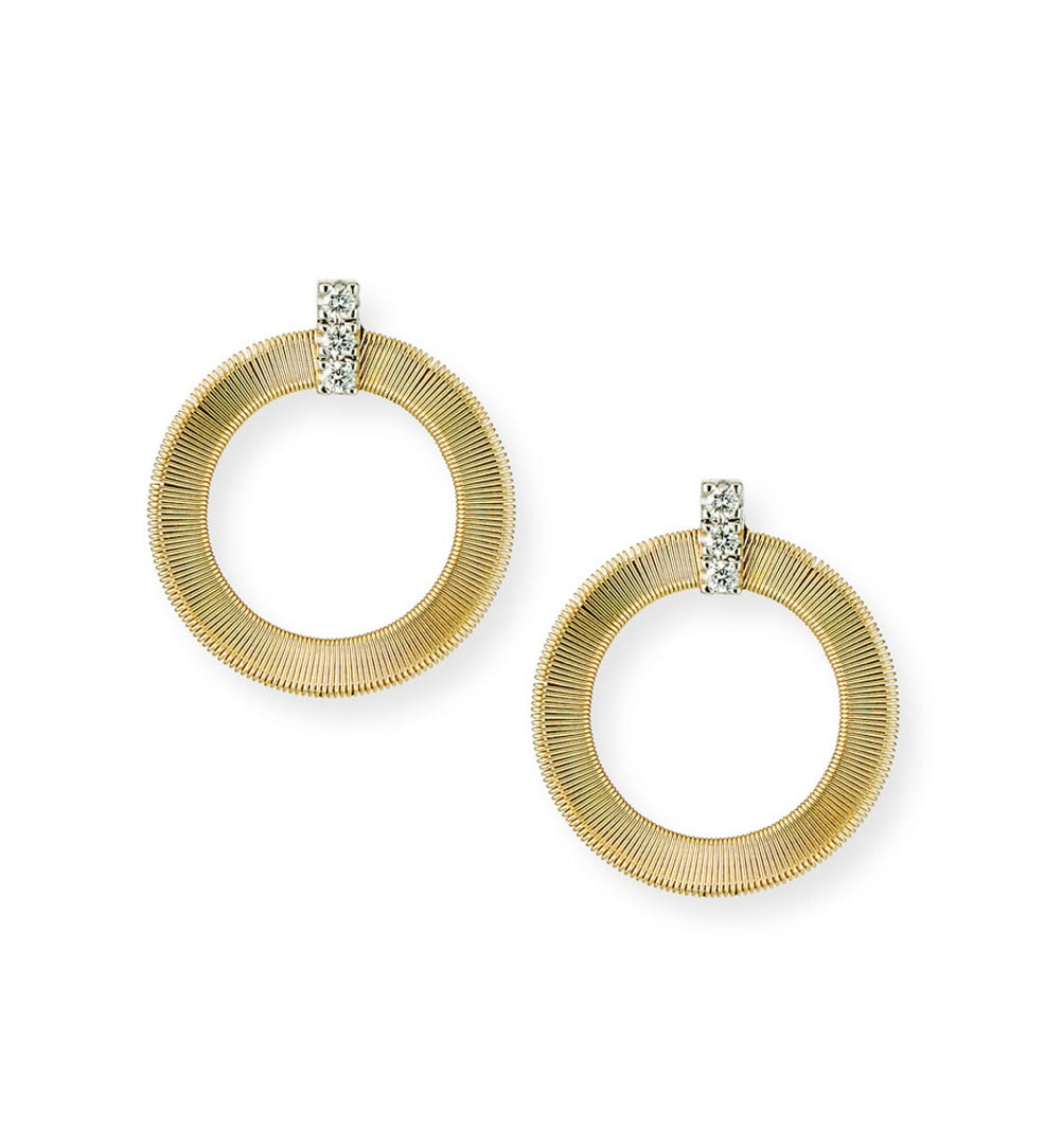 Marco Bicego Masai 18k Gold Circular Diamond-Post Earrings