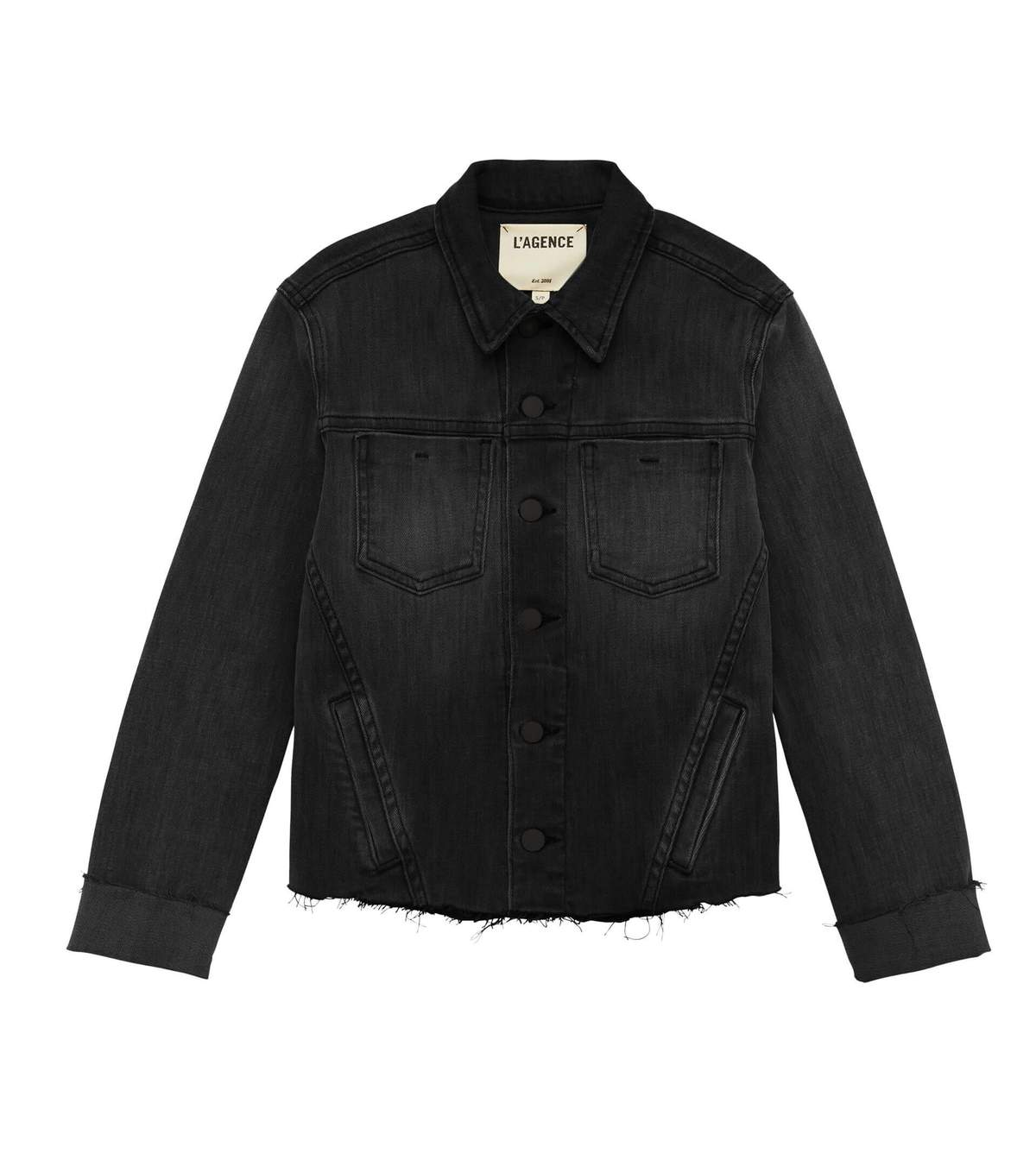 L'Agence Janelle Slim Raw Denim Jacket
