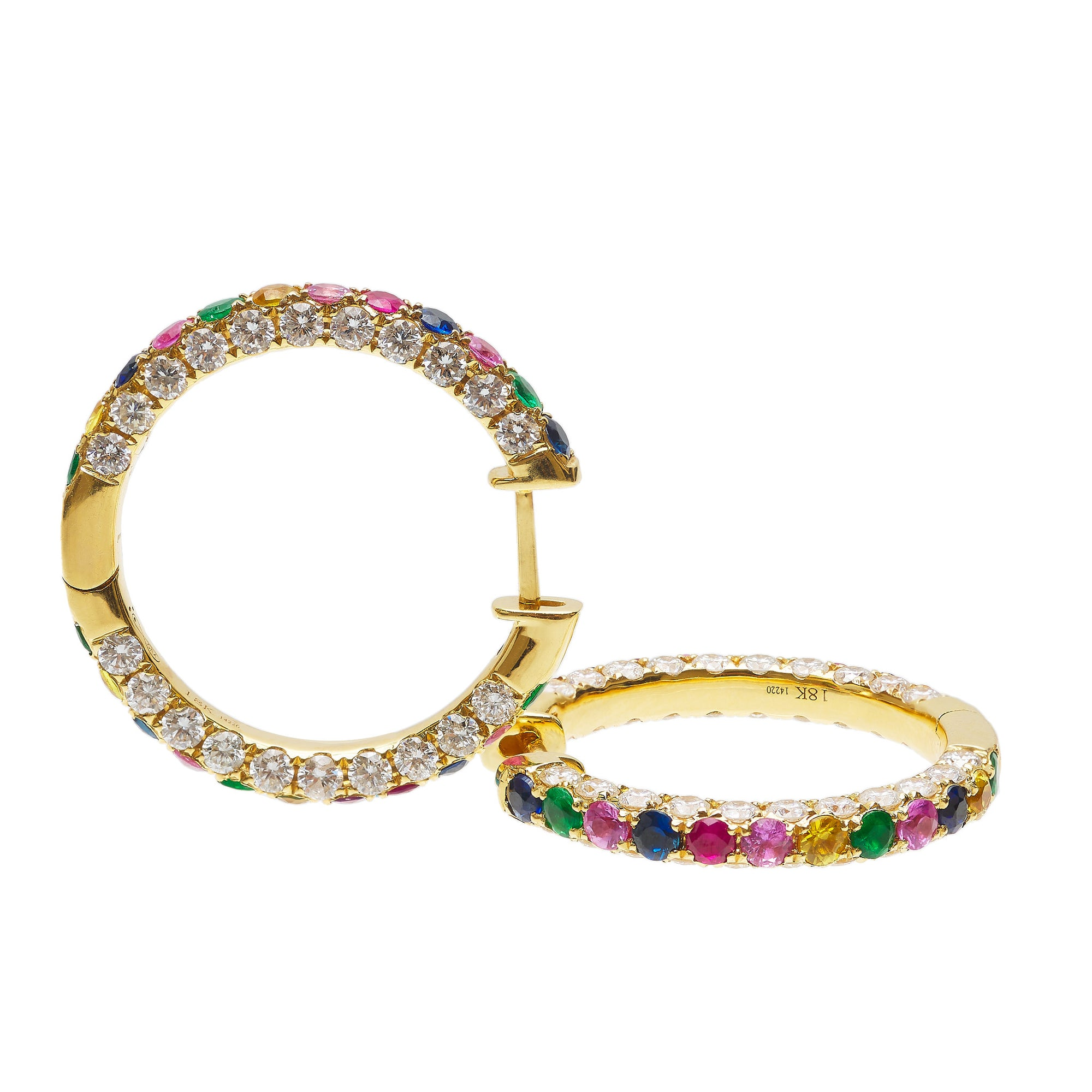 Graziela Large Rainbow & Diamond 3 Sided Hoop Earrings