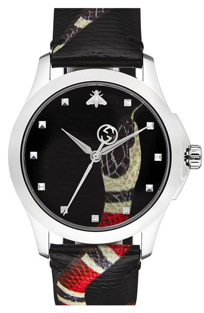 Gucci Snake Insignia Leather Strap Watch