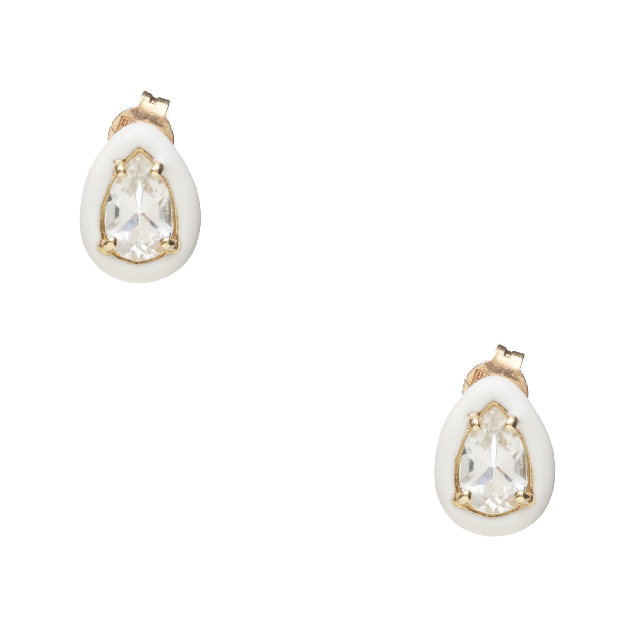Bea Bongiasca White Gumdrop Stud Earrings
