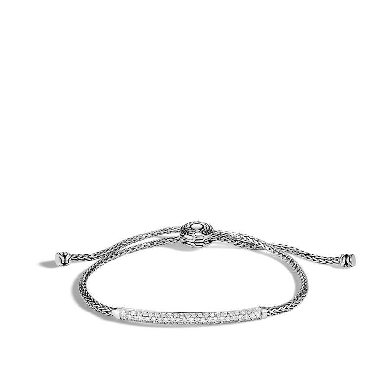 John Hardy Classic Chain Station Pull Through Bracelet with Diamond