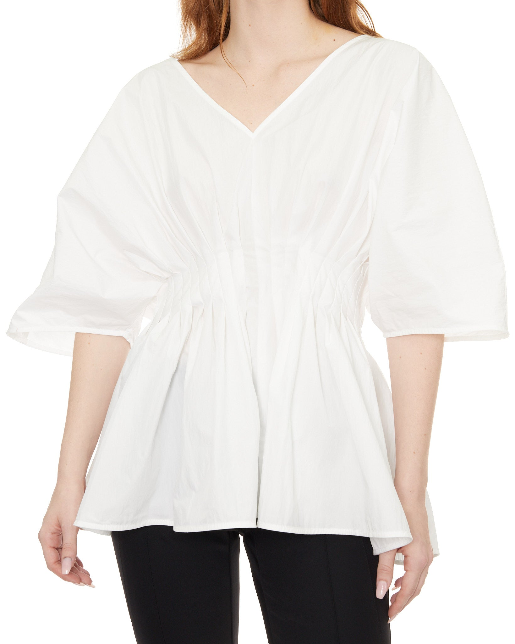 CO Tucked Waist V-Neck Puff-Sleeve Blouse