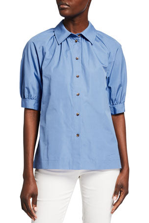Lafayette 148 Kai Button Down Poplin Shirt