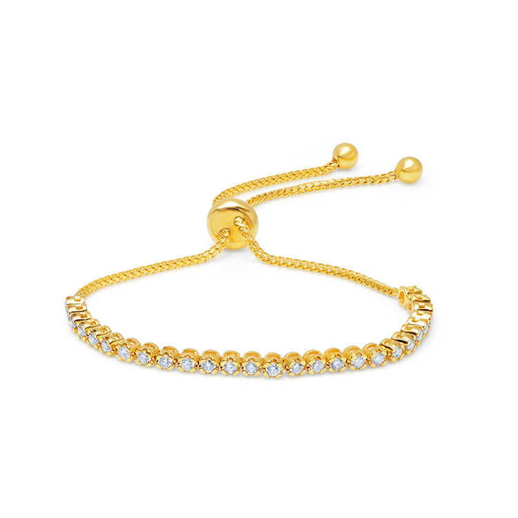 Graziela Diamond and Yellow Gold Bolo Bracelet