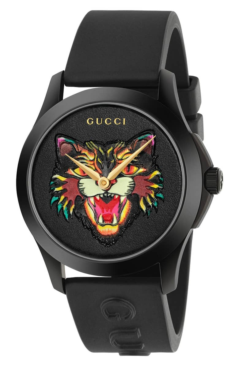 Gucci Angry Cat Rubber Strap Watch
