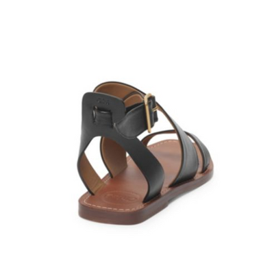 Chloe Virginia Leather Flat Sandals