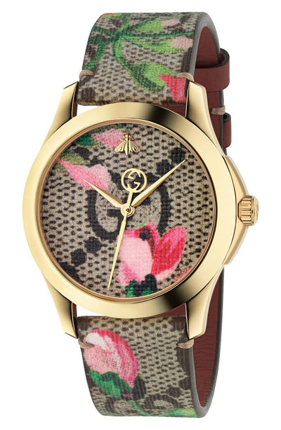 Gucci G-Timeless Print Canvas Strap Watch