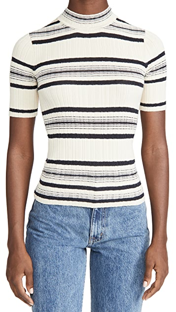 Theory Stripe Elbow Sweater