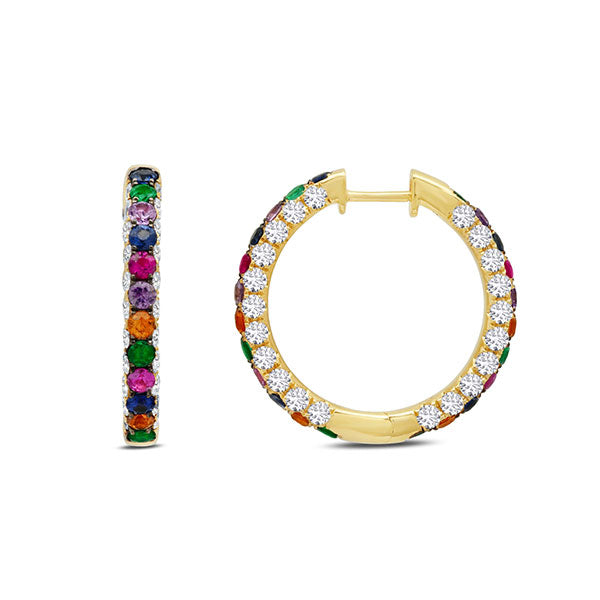 Graziela Rainbow and Diamond 3 Sided Hoop
