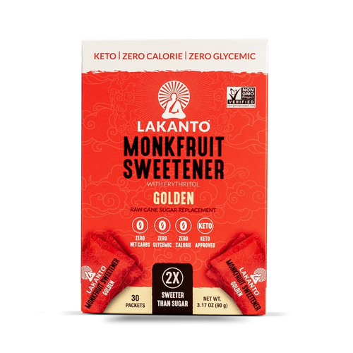Golden Monk Fruit 2:1 Sugar Substitute - 3Gx30 Sweetener Packets (Case of 8)