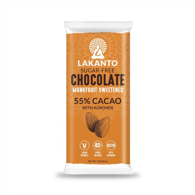 Sugar Free 55% Chocolate Bars - Almond - Display of 8