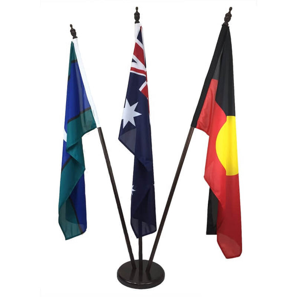 Australia, Aboriginal & TSI Flags on wooden poles and base