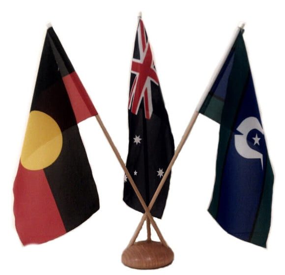 Aus, Aboriginal & TSI Flags Desk Set