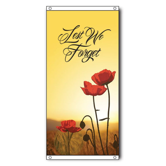Lest We Forget Eyelet Flag - Field + Poppies 750 x 1500mm