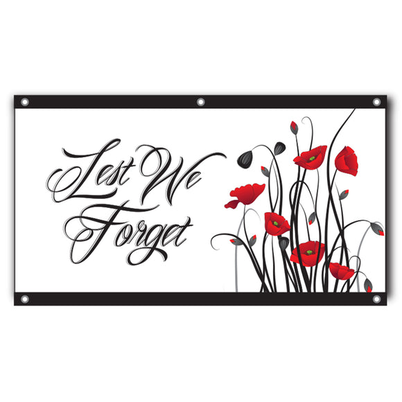 Lest We Forget Flag with Eyelets- Poppies 1500 x 750mm