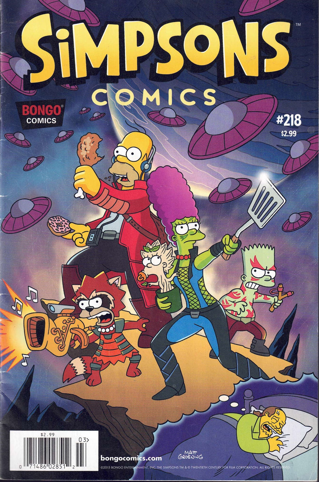 SIMPSONS COMICS #218 GUARDIANS OF THE GALAXY PARODY - Busy Bee Emporium