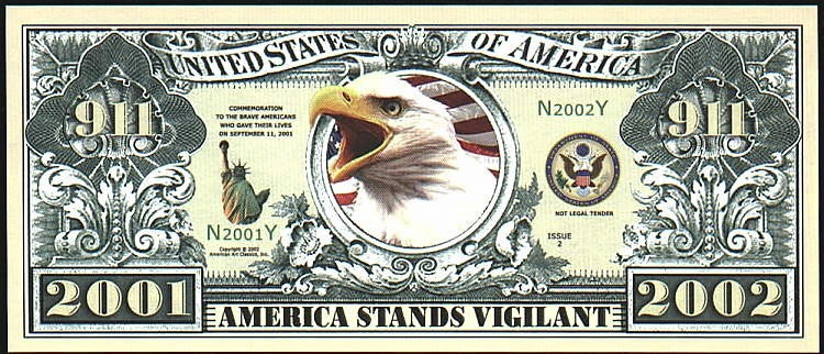 911 COMMEMORATIVE Note 🦅🌎🦅 Eagle 🏢 Fantasy Note 🏢 TWIN TOWERS - Busy Bee Emporium