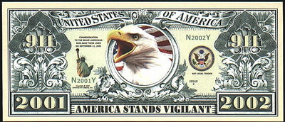 911 COMMEMORATIVE Note 🦅🌎🦅 Eagle 🏢 Fantasy Note 🏢 TWIN TOWERS