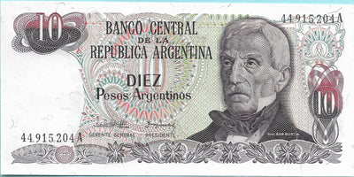 Argentina 10 Peso Argentino 🌎💷 P-313; SIGNATURE VARIETY 2; 1983-84; UNC 🌎 Waterfall - Busy Bee Emporium