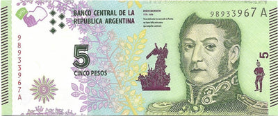 ARGENTINA 5 Pesos 🌎🗿 P- 359, UNC from ND (2015) 🗿 General Jose De San Martin - Busy Bee Emporium