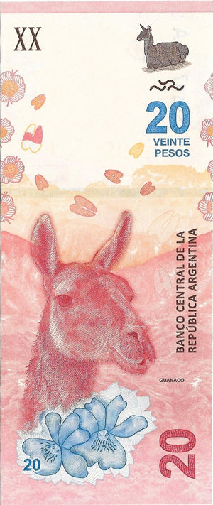 Argentina, 20 Pesos; ND (2017) P-361 ⚡ A-Series ⚡ New Design UNC 🦙 LLama - Busy Bee Emporium