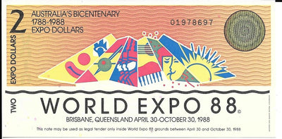 AUSTRALIA 2 Dollars 🌎 1988 World Expo Dollars 🏆 Commemorative 🌎 Hard to Find - Busy Bee Emporium